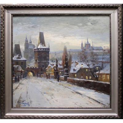 """Peintre Tchèque Josef Svoboda 1901 - 1945"""" Motif d'hiver de Prague avec la tour du pont"""""""