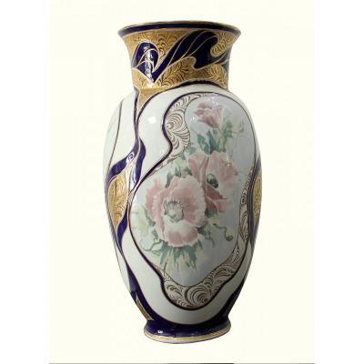 Vase En Porcelaine Art Déco Manufacture Bohemia Dubí