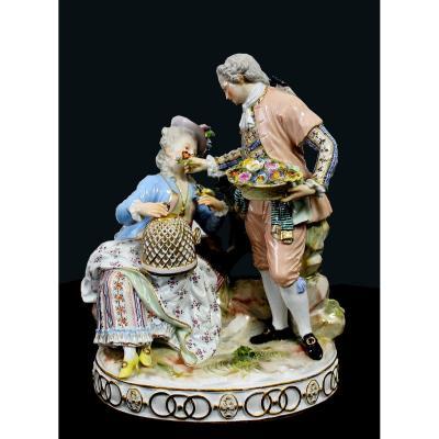 """Porcelaine de Meissen """"Figurines Scène Galante""""1764 - 1851"""