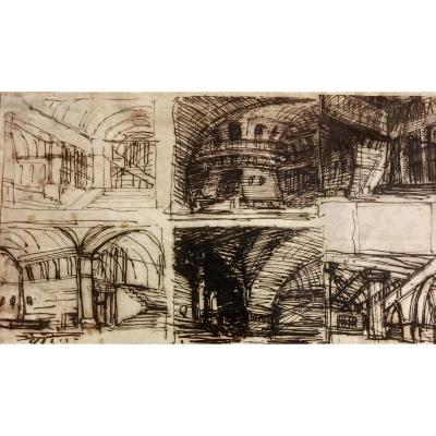 Entourage Of Giovanni Battista Piranesi, Dit Piranesi, Study Of Carceri Early Eighteenth