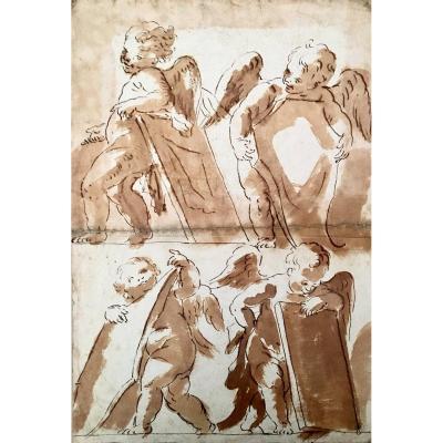Domenico Zampieri Says Dominiquin (1581-1641), Attributed To, Superb Study Of Angels