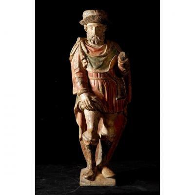 Saint Roch, Polychrome Wood Sculpture XVIth Century