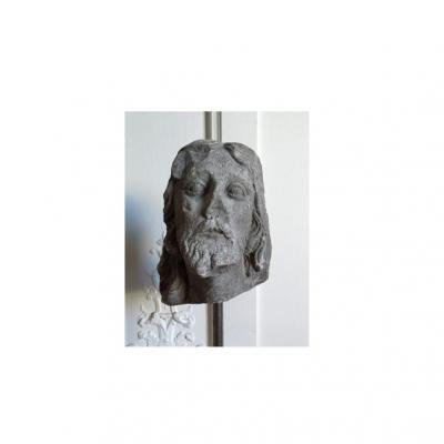 Tête De Christ Ou De Saint En Pierre Calcaire Sculptée XVIe