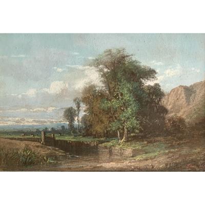 Camille Flers (1802-1868), Paysage, Signé