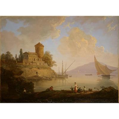 Victor De Grailly (1804-1887), Vue d'Un Port Animé