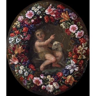 Andries Daniels (1580-1640), Attribué à, Guirlande De Fleurs Entourant Un Médaillon