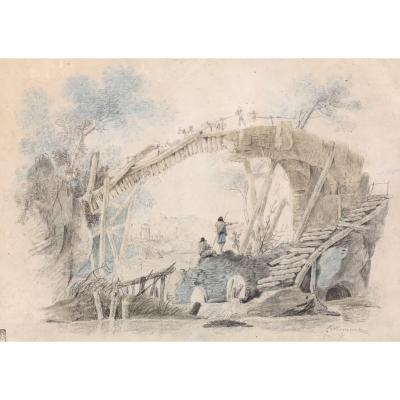 Jean-baptiste Pillement (1728-1808),  Le Pont Rustique, Collection Pierre Geismar