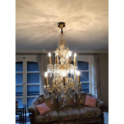 Large Cage Chandelier In Gilded Bronze And Cristal