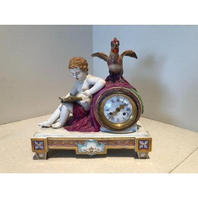 Mantel Clock With Cupid And Rooster