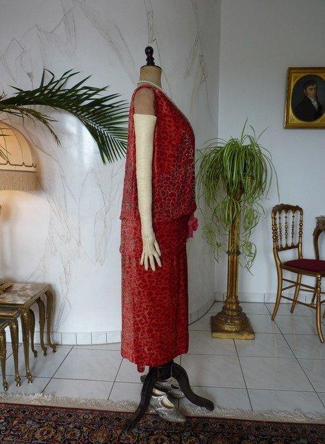 Robe De Soirée En Velours Dévoré Worth, Paris, Vers 1926-photo-5