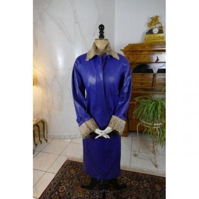 Manteau Ancien En Cuir Callot Soeurs, Daté De l'Hiver 1927-28