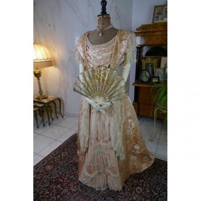 Robe De Bal Larue, Bordeaux-Biarritz, antique dress, antique gown, Victorian dress, Vers 1898