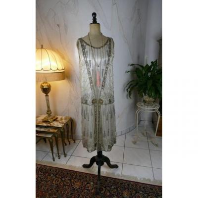 Robe De Soirée Blanche, France, Antique Flapper Dress, Antique Gown, Années 1920