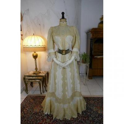 Macheret Society Dress, New York & Paris, Edwardian Dress, Antique Gown, Ca. 1901