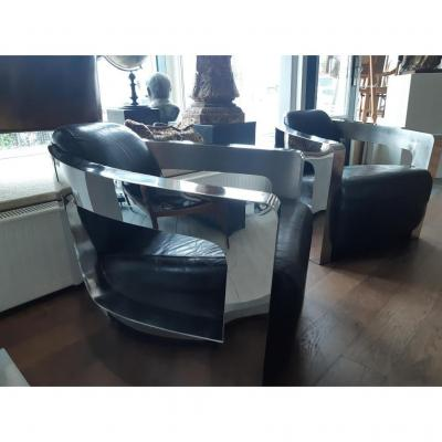 2 Chairs Stainless Steel