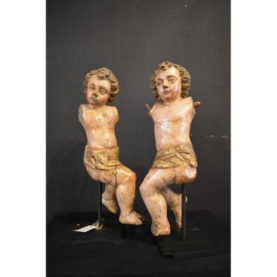 Deux Petites Anges En Bois, Polychromé, 17 Eme Siegle