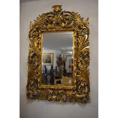 Miroir , Baroque, Francais, Doré,