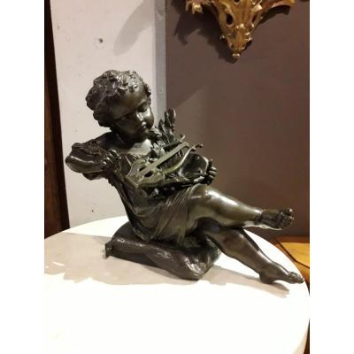 Bronze Italien- Putto Aux Arts Libres