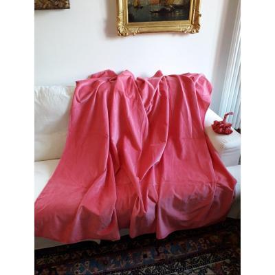 Tissus en Velour pur lin, couleur Rose Shocking.