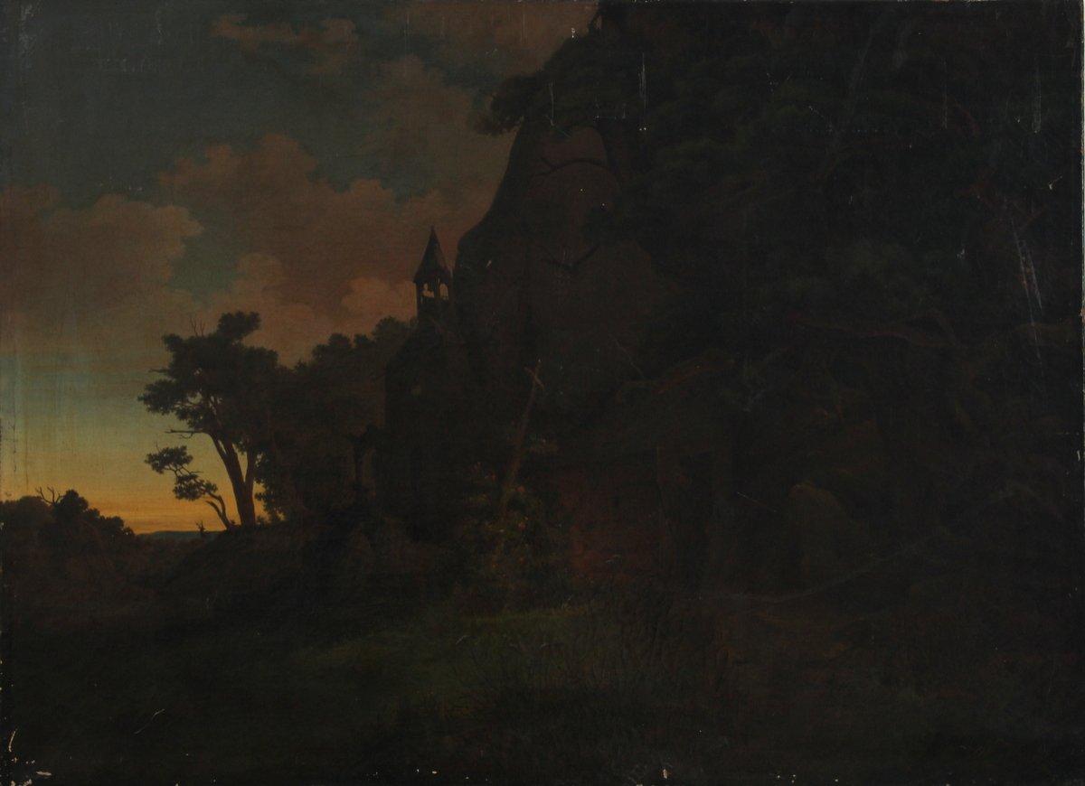 Belle Peinture à l'Huile, Vue Des Ruines Du Château d'Otto Krafft