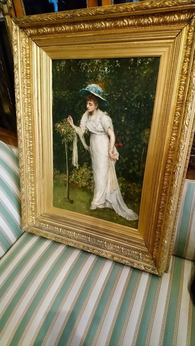 Dame Dans Une Roseraie, 19e Siècle Belle-photo-3