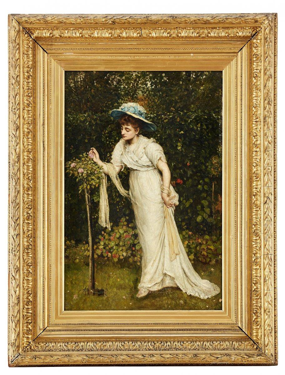 Dame Dans Une Roseraie, 19e Siècle Belle
