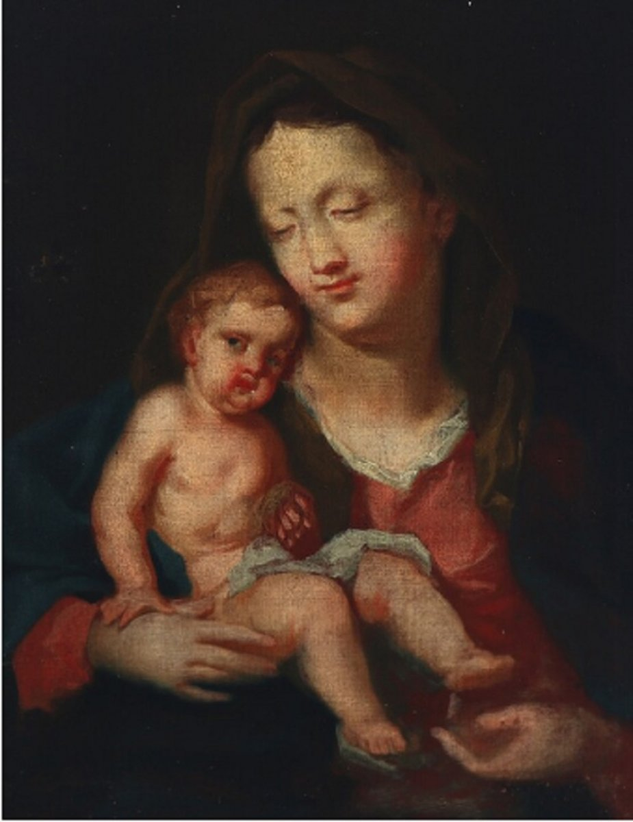 Table Madonna With A Child, Flamanda XVII / XVIII Century Belle