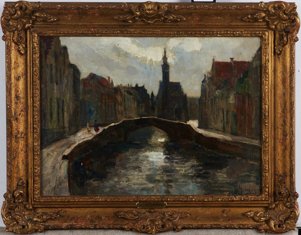 Victor Leclerq (located 1896-1944), Urban Landscape Of Bruges