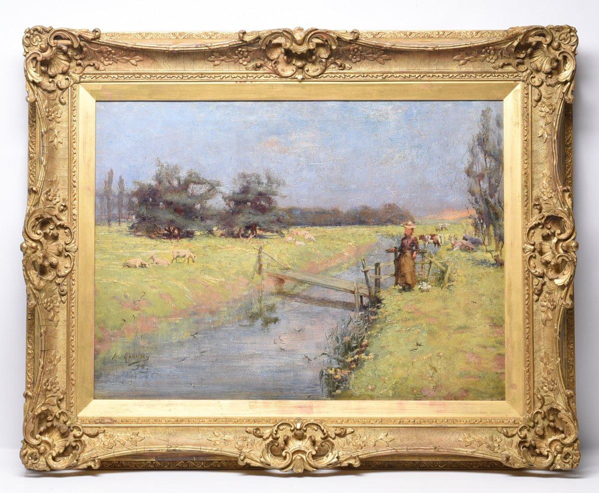 Paysage Fluvial Impressionniste Fou Du 19ème Siècle!,