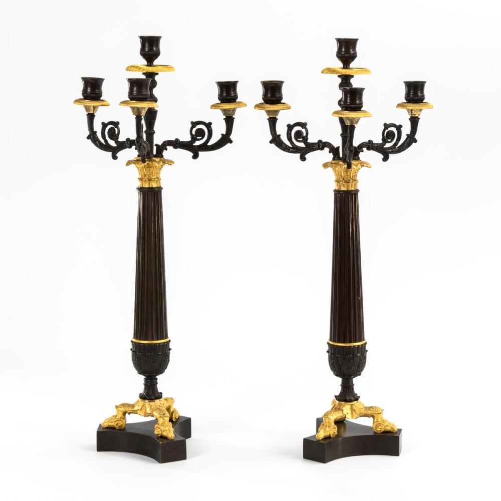 Paire De Grands Candélabres Pompeux à 4 Bougies De Style Empire 1810