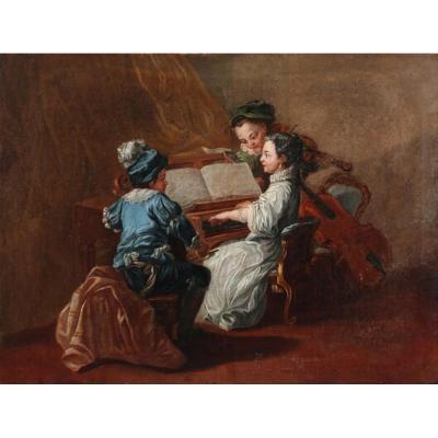 Peinture à l'Huile, Musée Tournant Des Musiciens Du XVIIe / XVIIIe Siècle, Beautiful !!!