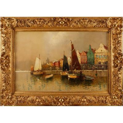 Petite Ville De Holand, Hans Wagner 1866 - 1940, Magnifique !!!