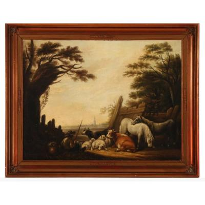Peintre Hollandais Du XVIIIe Siècle: Berger Gardant Des Animaux