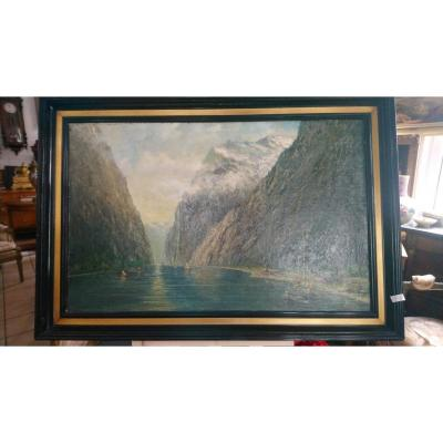 Beautiful View Of The Fjord, Signed By V. Hoffmann