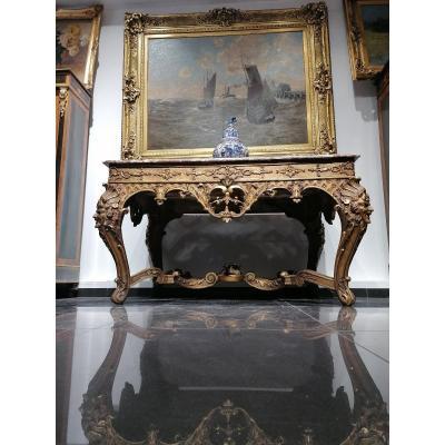 Table Console En Bois Doré d'époque Régence Vers 1720/40