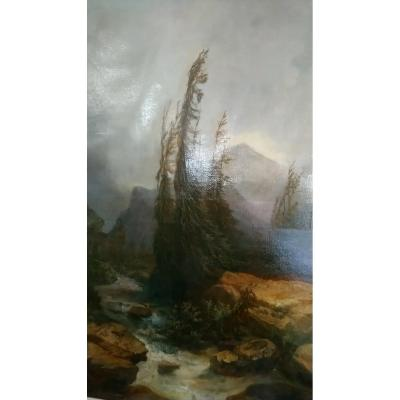 Le Beau Paysage d'Un Peintre Français Du 19ème Siècle. 1880