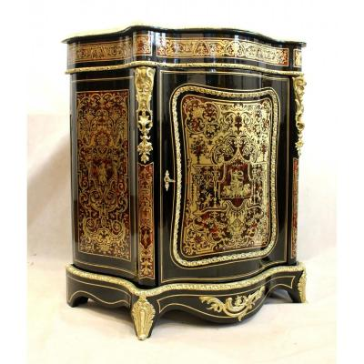 Magnificent Boulle Wardrobe With Richly Decorated Single Door, Concave-convex Shape From XIXth Century