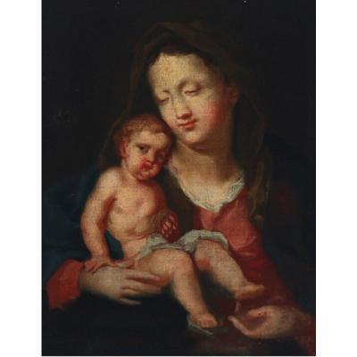 Tableau Madone Avec Un Enfant, Flamanda XVII / XVIII Siècle Belle