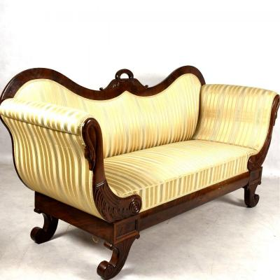 Biedermeier Sofa 19th Century Around 1820 With Swans, Miracle