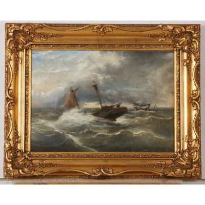 Frederic Jacques Sang 1877, Navire Dans Une Tempête,
