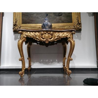 Table Dorée Rococo XVIII / XIX Siècle, Magnifique !!!
