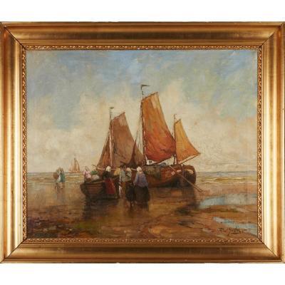 Rudolf Anton Guba (1884-1950): Bateaux De Pêche Au Large