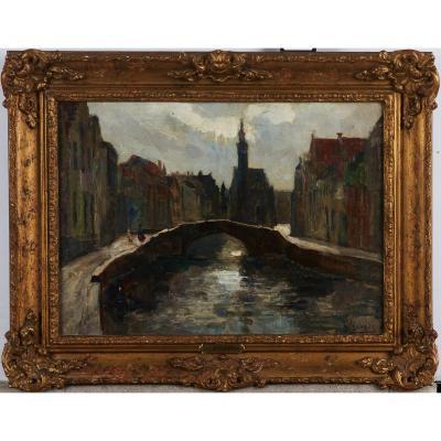 Victor Leclerq (localisé 1896-1944), Paysage Urbain De Bruges