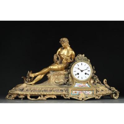 Pendule De Cheminée En Bronze Doré Avec La Figure d'Orphée 1844/49