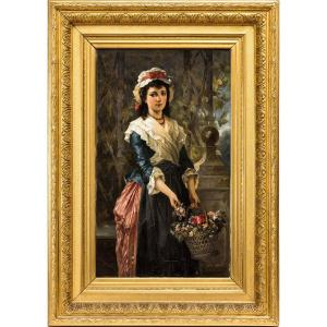 Girl With A Basket Of Flowers, Carl Herpfer Museum