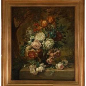 A Beautiful Bouquet Of Flowers In A Garden Decor, Turning From The 18th / 19th Century