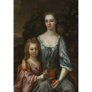 Portrait Of A Young Woman With A Girl 17th Century, Painting