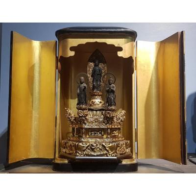 Butsudan - Triad Of Compassion - Kannon, Seishi And Jizô - Edo Era - Japan