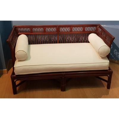 Bamboo And Wood Sofa - Around 1900
