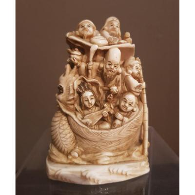 Okimono In Ivory - Immortals On The Boat - Japan - Meiji Late 19th.